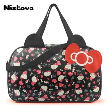 Waterproof Travel Bag Luggage Womens Girls Cartoon Shoulder Tote Duffle Bags Cute Hello Kitty Cat Handbags Accessories Supplies