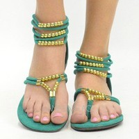 Sea Green Gold Beaded Strappy Flat Sandal Ankle Strap Jade Summer Hippie Fashion