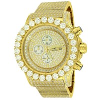 Gold Tone Mens Solitaire Bezel Stainless Steel Watch