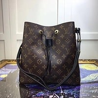 Louis Vuitton Women Fashion Leather Satchel Shoulder Bag Handbag Crossbody Bucket bag