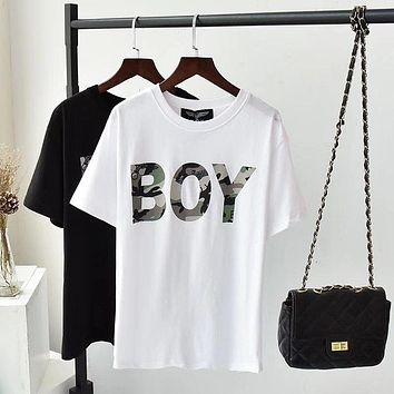 """Boy London"" Unisex Casual Personality Camouflage Letter Print Short Sleeve Couple T-shirt Top Tee"