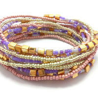 3 Stretch seed bead wrap bracelets, stacking, beaded, boho anklet, bohemian, stretchy stackable multi strand, gold purple pink pastel cube