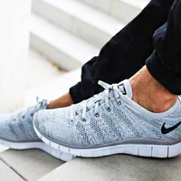"""""""NIKE"""" Trending Free Knit Fly Line Fashion casual sports shoes Light Grey"""