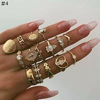 Fashion Adjustable Ring Mix Set For Women Vintage Geometry Crystal Opal Eye Virgin Mary Rings Female Party Jewelry Gift