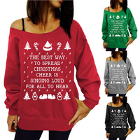 "Womens Xmas Christmas Printing Sweatshirt Off Shoulder Tops Pullover Shirt  ""FREE SHIPPING"""