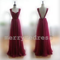 Sweetheart Wide Straps Backless A-line Long Bridesmaid Dress, Floor length Chiffon Formal Evening Party Prom Dress New Homecoming Dress