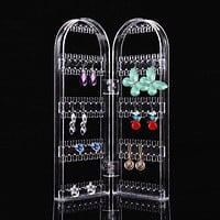 Transparent Jewelry Storage Rack Plastic Clear Holder Organizer Storage Cabinet Box Jewelry Display
