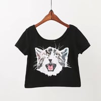 Black Cat Print Crop Tank Shirt