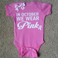In October We Wear Pink - Mia Grace Designs -  Body Suit - Glitter  - Onesuit - Ruffles with Love - Baby Clothing - RWL - On Wednesdays - Mommy's Princess - Diva