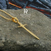 Vikings Sword Necklace, Sterling Silver, Yellow Gold Plated, NE002B