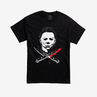 Halloween Michael Myers Crossed Knives T-Shirt