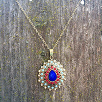 Gorgeous red blue and aqua medallion necklace