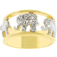 Two Tone Pave Elephant Ring
