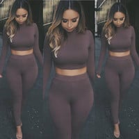 2 Piece Set Women Autumn Winter Long Sleeve Crop Tops + Pants New Sexy Bodycon Skinny Outfits Pants Women Sets Plus Size GV423