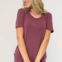 Solid Short Sleeve Rounded Hem Tee