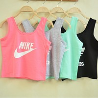 NIKE Woman Fashion Print Cotton Sport Gym Vest Tank Top Cami