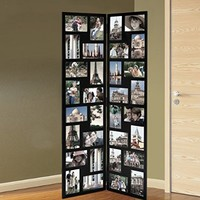 """Adeco Black Wood Hinged Folding Partition Screen-Style Collage Picture Photo Frame 32 Openings, 4x6"""""""