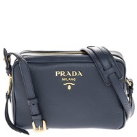 Prada Women's Calf Leather Shoulder Bag Navy
