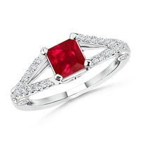 Solitaire Square Ruby and Diamond Split Shank Ring