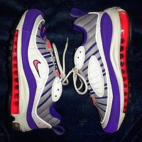 .Nike Air Max 98 Sneakers Trending Shoes White Purple.