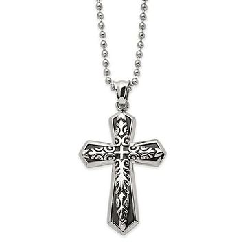 """Stainless Steel Antiqued And Polished Black IP-Plated Cross 22"""" Necklace"""