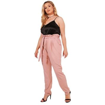 chrissy Women Plus Size High-Waist Ruffled Pink Pants retro trousers