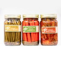 Pickled Silly Sampler - Tarragon Carrots, Dilly Green Beans & Spicy Okra