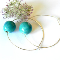 Minimalist Geometric Jewelry Ceramic Turquoise Ball Sterling Silver Plated Hoop Earrings