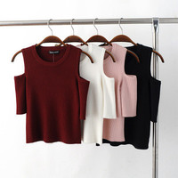 Popular Fashionable Knit Slim Pullover Off Shoulder Round Necked Top T-shirt b2342