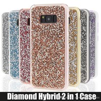 for iPhone 5 6 6s 7 7plus Samsung Galaxy s8 s8 plus Case Glitter Hybrid 2 in 1 rhinestone cases Bling bling Luxury Diamond Phone Cover