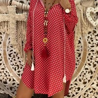 New Red Polka Dot Print Draped Going out Mini Dresses