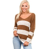 Brown Ivory Striped Over Sized Sweater
