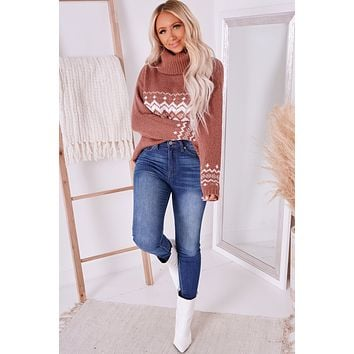 Through The Pines Ribbed Turtle Neck Sweater (Rust/Ivory)