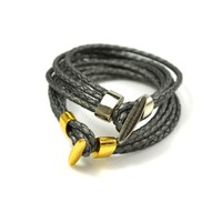 Braided Leather Wrap Bracelet with Gold or Silver Toggle Clasp