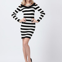 'The Dahna' Black and White Striped Long-Sleeved Dress
