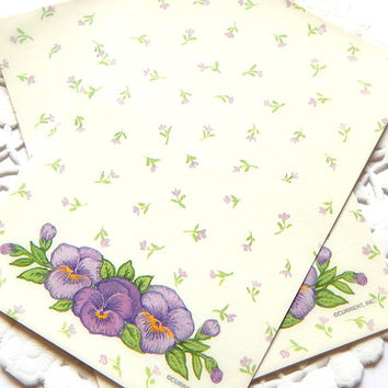 Vintage Floral Stationery. Purple Flowers. Floral Note Paper. Mini Notes. Journal Paper. Stationery Sheets. Small Note Cards. Writing Paper.