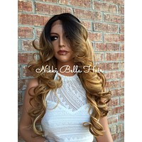 """Honey Syrup Bayalage Volume Curls Multi Parting Human Hair Blend Lace Wig 24"""" Hot Rollers"""