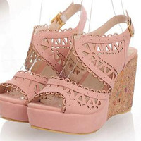 2015 women new fashion spring summer sweet casual sandals 10cm ultra high heels wedges platform shoes large plus size 40-46