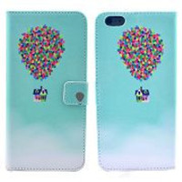 Colorful Balloons Carrying the Cute House of the Movie Up Pattern Card Slot Magnetic Flip Stand TPU+ PU Leather Case for iPhone 6 Plus 5.5 Inch