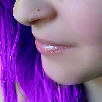 tiny nose ring, stud, delicate jewelry, sterling itty bitty nose stud, nose retainer, cute nose stud. Gold