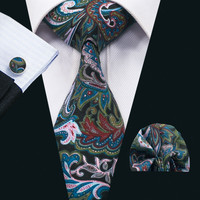 New Arrival Fashion Colorful Cotton Ties For Men High Quality Necktie Hanky Cufflinks Set For Wedding Party