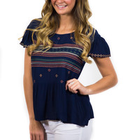 Nautical Twist- Embroidered Top