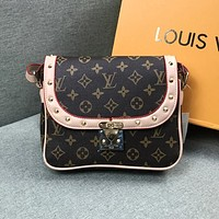 Louis Vuitton LV Newest Popular Women Leather Rivet Shoulder Bag Crossbody Satchel Apricot