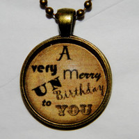 Alice in Wonderland Necklace. A Very Merry Un Birthday. 18 Inch Ball Chain.