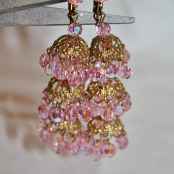 Vintage Crystal Drop Dangle Earrings, Pink Crystal Chandelier Earrings, 1970s Jewelry