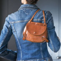 Small Saddle Bag tan leather. Vintage Crossbody Handbag for women. Equestrian bag two bags in one. Cartridge Bag leather Horse Saddle bag