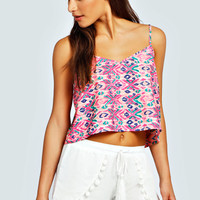 Addison Neon Blurred Print Woven Crop Swing Cami Top
