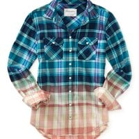 Long Sleeve Dip-Dye Plaid Woven Shirt