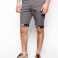 New Look Chino Shorts With Floral Print Turn Ups