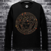 Versace autumn and winter new men's hot drilling round neck trend long-sleeved shirt Black
